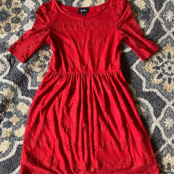 by & by Dresses & Skirts - Red Lace Dress